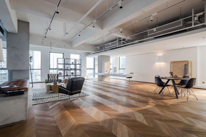 desain ruang kantor sederhana ruang direktur dengan sofa